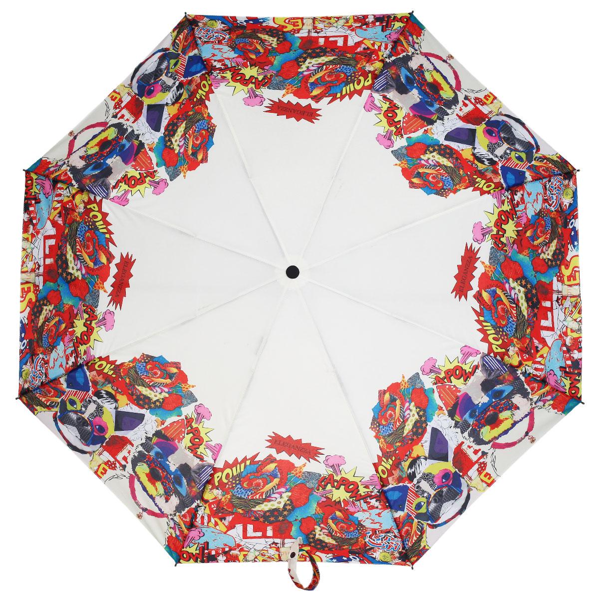 Зонт женский Eleganzza, автомат, 3 сложения, цвет: белый, красный. A3-05-0272 зонт женский isotoner гламурная вишня 3 сложения полный автомат цвет черный
