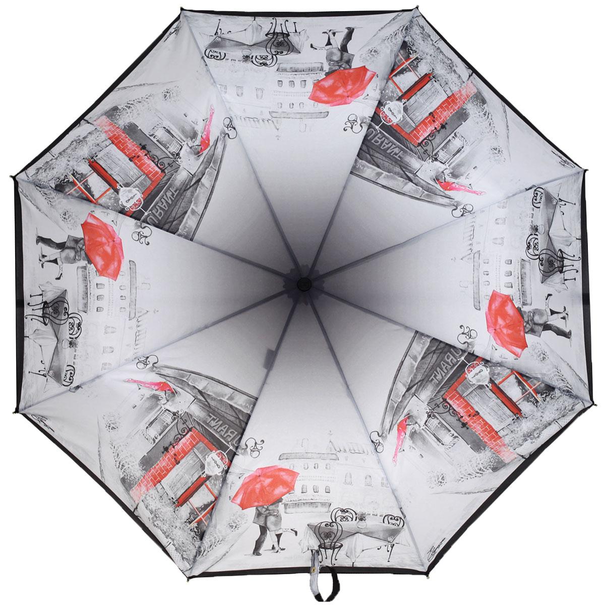 Зонт женский Eleganzza, автомат, 3 сложения, цвет: темно-серый, красный. A3-05-0295 зонт женский derby polka 3 сложения полный автомат бордовый