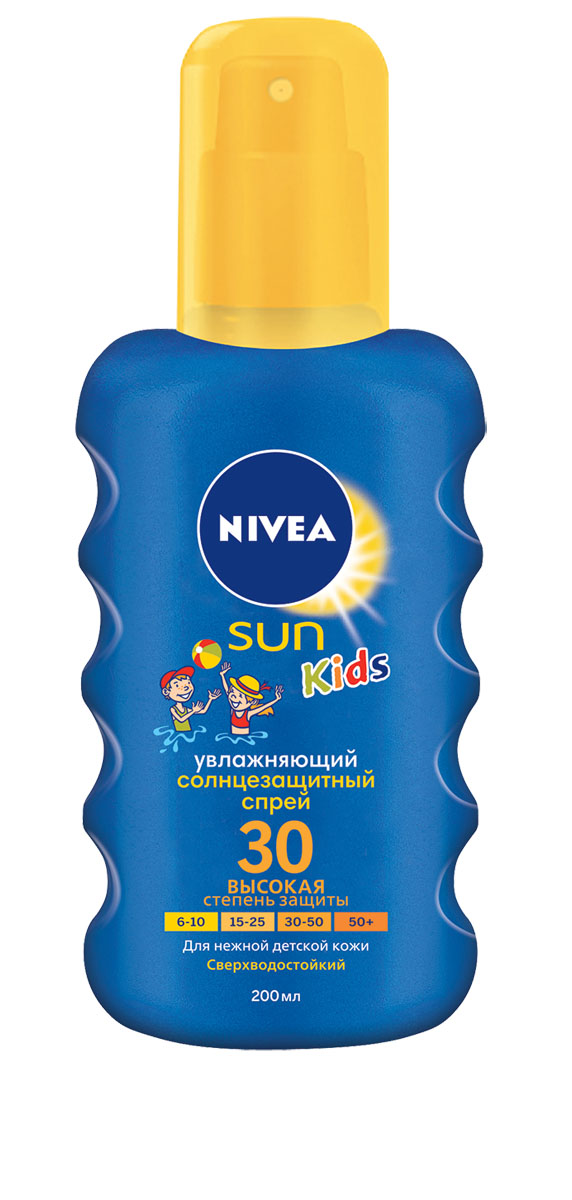 NIVEA Цветной Солнцезащитный спрей для детей СЗФ 30 200 мл10071620Солнцезащитный детский спрей Nivea Sun защищает от солнечных ожогов, благодаря эффективной системе UVA/UVB фильтров. Зеленый оттенок, исчезающий после нанесения, помогает равномерно нанести средство, не оставляя незащищенных участков.Характеристики:Объем: 200 мл. Производитель: Испания. Артикул: 85403. Товар сертифицирован.