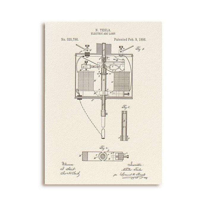 Открытка Патенты Николы Теслы. Electric Arc Lamp, fig. 1GC001.4