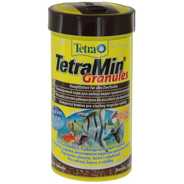 Корм сухой TetraMin Granules для всех видов аквариумных тропических рыб, в виде гранул, 250 мл корм tetra tetramin xl flakes complete food for larger tropical fish крупные хлопья для больших тропических рыб 10л 769946