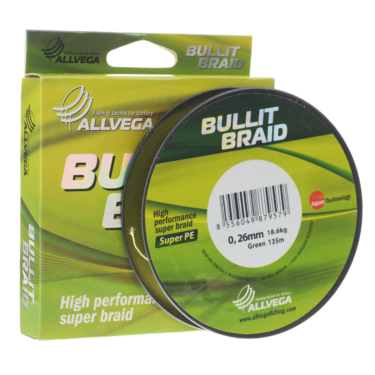 Леска плетеная Allvega Bullit Braid, цвет: ярко-желтый, 135 м, 0,26 мм, 18,6 кг