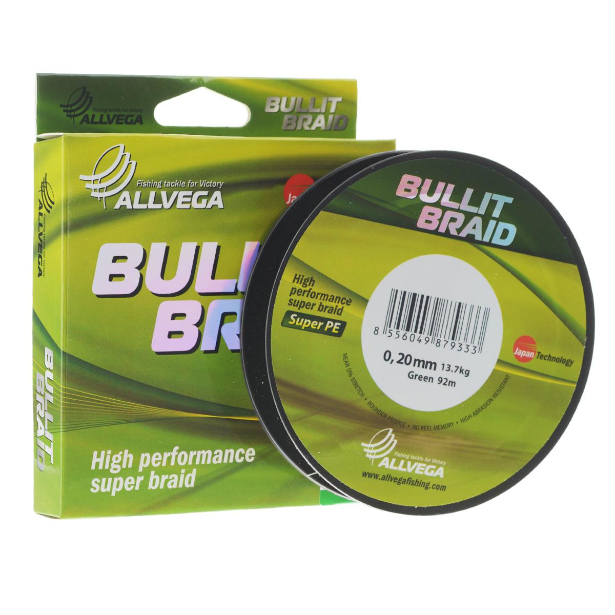 Леска плетеная Allvega Bullit Braid, цвет: темно-зеленая, 92 м, 0,20 мм, 13,7 кг21424Леска Allvega Bullit Braid с гладкой поверхностью и одинаковым сечением по всей длине обладает высокой износостойкостью. Благодаря микроволокнам полиэтилена (Super PE) леска имеет очень плотное плетение и не впитывает воду. Леску Allvega Bullit Braid можно применять в любых типах водоемов. Особенности:- повышенная износостойкость;- высокая чувствительность - коэффициент растяжения близок к нулю;- отсутствует память;- идеально гладкая поверхность позволяет увеличить дальность забросов;- высокая прочность шнура на узлах.
