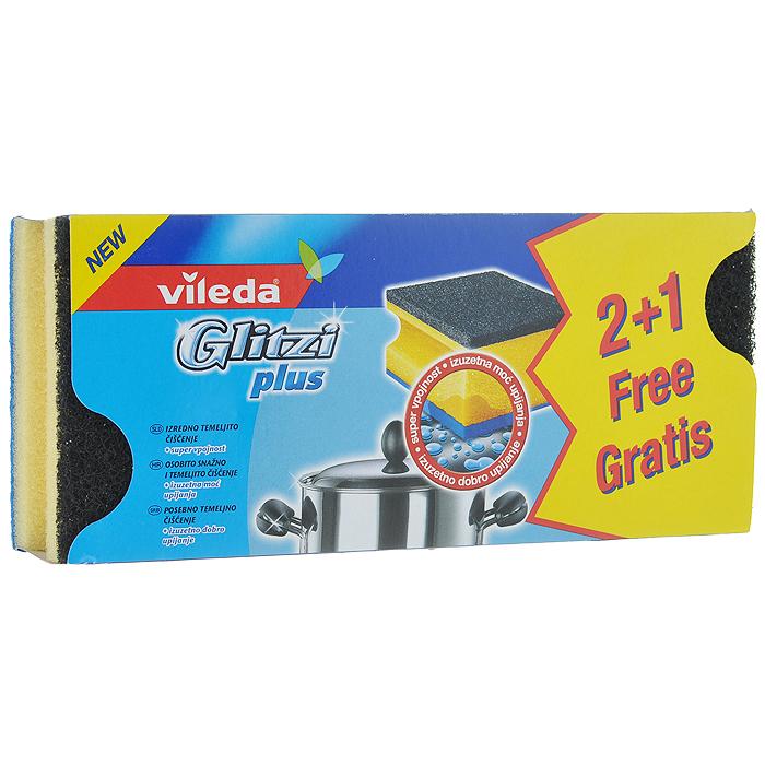 Набор губок для кастрюль Vileda Glitzi Plus, 3 шт321107171Набор Vileda Glitzi Plus состоит из 3 губок, предназначенных для мытья металлической посуды и рабочих поверхностей. За счет добавления кристаллов кварца в абразивный слой изделия обладают усиленными чистящими свойствами. Углубления на боковых сторонах защищают ногти и позволяют удобно держать губку. Синяя тканевая сторона вытирает посуду, а также служит для удаления остатков загрязнения.Материал: полиуретан, абразив, вискоза. Комплектация: 3 шт.Размер губки: 9 см х 7 см х 4,5 см.