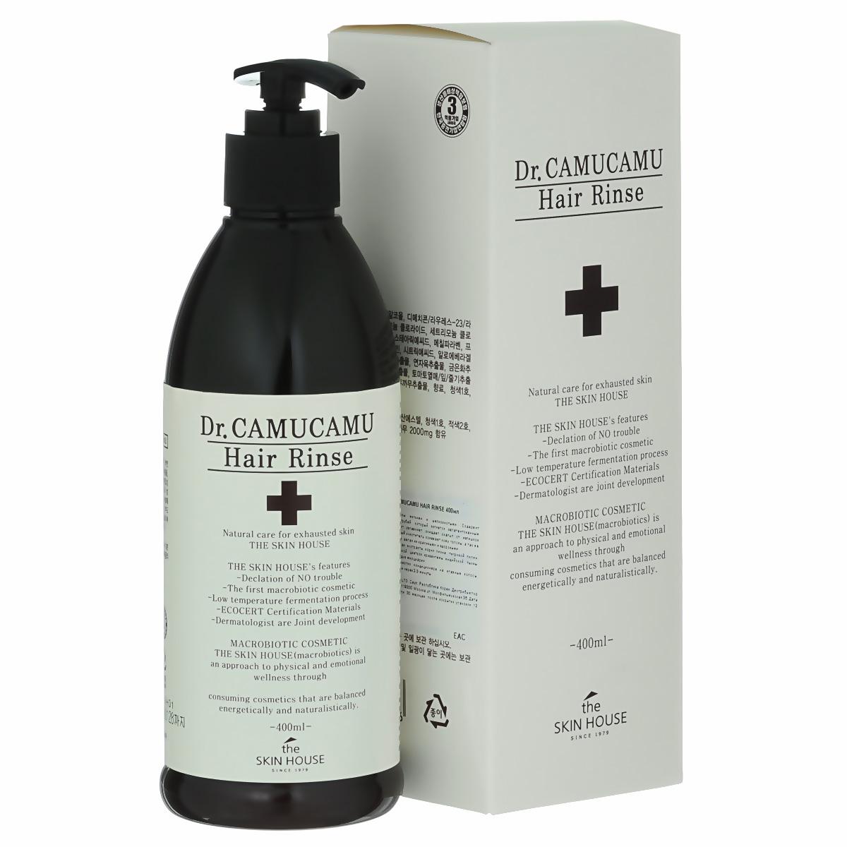 The Skin House Лечебный бальзам для волос DR. Camucamu hair rinse, 400 млУТ000001221Кондиционер для волос делает волосы мягкими и шелковистыми. Содержит ферментированный экстракт рисовых отрубей, который является запатентованным компонентом TheSkinHouse. Этот экстракт увлажняет, очищает скальп от излишков себума и контролирует перхоть. Натуральный очиститель освежает кожу головы, а так же питает волосы от корней до самых кончиков, делая их красивыми и здоровыми.Содержит комплекс ингредиентов: экстракт корня пиона, тигровой лилии, цветков лотоса, цветков жимолости японской, цветков хризантемы индийской, тыквы, листьев алоэ барбаденсис, ягод асаи и плодов мирциарии.