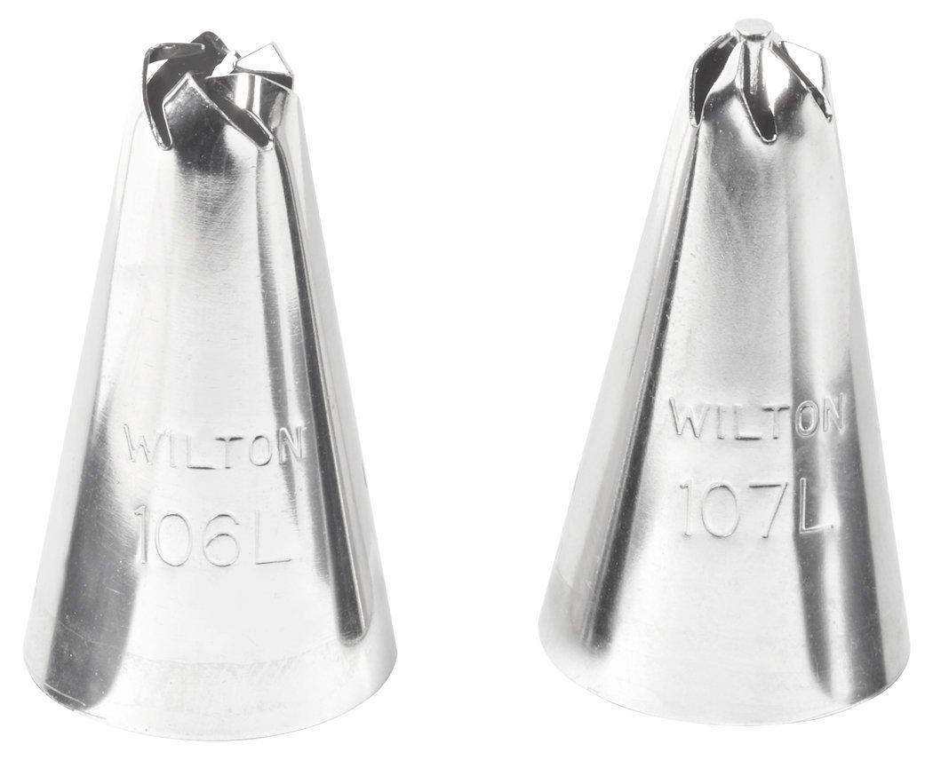 Набор насадок для кондитерского мешка Wilton Цветок, 2 штWLT-418-613Набор Wilton Цветок включает две насадки для кондитерского мешка или шприца (№106 и №107), изготовленные из металла. Используются для украшения тортов. Длина насадки: 3 см.