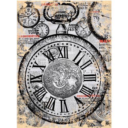 Рисовая бумага для декупажа Craft Premier Карманные часы, 28 см х 38 смCP00768Рисовая бумага для декупажа Craft Premier Карманные часы - мягкая бумага с выраженной волокнистой структурой, которая легко повторяет форму любых предметов. При работе с этой бумагой вам не потребуется никакой дополнительной подготовки перед началом работы. Вы просто вырезаете или вырываете нужный фрагмент и хорошо проклеиваете бумагу на поверхности изделия. Рисовая бумага для декупажа идеально подходит для стекла. В отличие от салфеток, при наклеивании декупажная бумага практически не рвется и совсем не растягивается. Клеить ее можно как на светлую, так и на темную поверхность. Для новичков в декупаже это очень удобно и гарантируется хороший результат. Поверхность, на которую будет клеиться декупажная бумага, подготавливают точно так же, как и для наклеивания салфеток, распечаток и т.д. Мотив вырезаем точно по контуру и замачиваем в емкости с водой, обычно не больше чем на одну минуту, чтобы он полностью впитал воду. Вынимаем и промакиваем бумажным или обычным полотенцем с двух сторон. Равномерно наносим клей на оборотную сторону фрагмента, и на поверхность предмета, с которым работаем. Прикладываем мотив на поверхность и сверху промазываем кистью с клеем легкими нажатиями, стараемся избавиться от пузырьков воздуха, как бы выдавливая их. Делать это нужно от середины к краям мотива. Оставляем работу сушиться. После того, как работа высохнет, нужно покрыть ее лаком.Декупаж - техника декорирования различных предметов, основанная на присоединении рисунка, картины или орнамента (обычного вырезанного) к предмету и далее покрытии полученной композиции лаком ради эффектности, сохранности и долговечности. Плотность: 25 г/м.