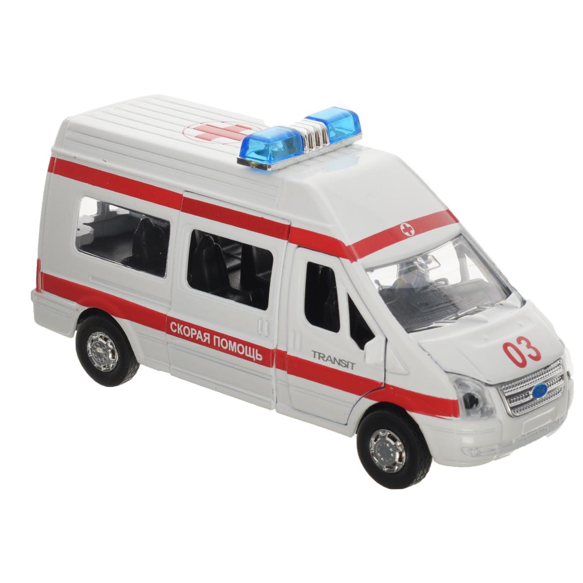 Машинка инерционная ТехноПарк Ford Transit: Скорая помощь машинки технопарк машина технопарк металлическая инерционная ford mustang