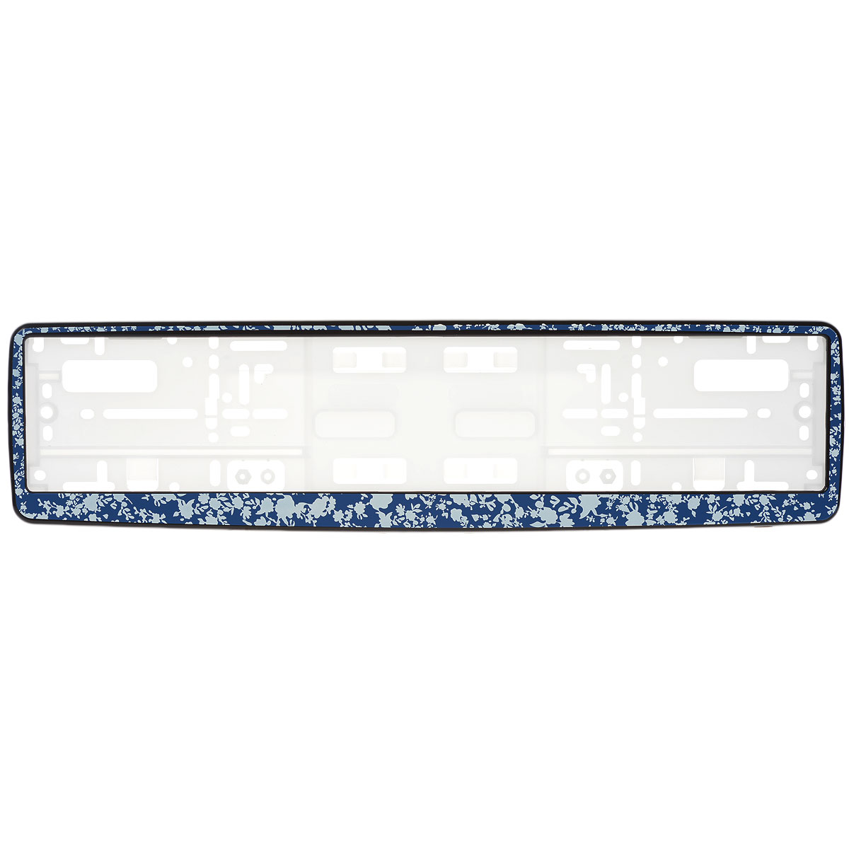 Рамка под номер Синие цветыЗ0000014184Рамка Синие цветы не только закрепит регистрационный знак на вашем автомобиле, но и красиво его оформит. Основание рамки выполнено из полипропилена, материал лицевой панели - пластик.Она предназначена для крепления регистрационного знака российского и европейского образца, декорирована орнаментом. Устанавливается на все типы автомобилей. Крепления в комплект не входят.Стильный дизайн идеально впишется в экстерьер вашего автомобиля.Размер рамки: 53,5 см х 13,5 см. Размер регистрационного знака: 52,5 см х 11,5 см.