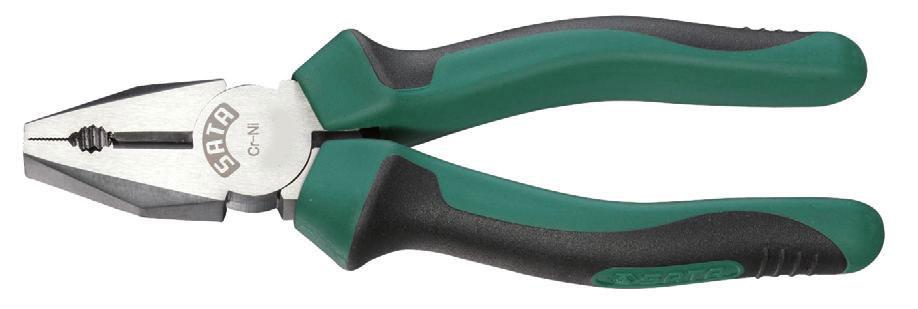 Плоскогубцы SATA 18 см70302AПлоскогубцы Sata предназначены для захвата, зажима и удержания мелких деталей. Изготовлены из высококачественной хром-никелевой стали. Это увеличивает эксплуатационный период на 30% по сравнению с подобным изделием из хромованадиевой стали. Двухкомпонентные рукоятки обеспечивают более комфортную эксплуатацию, не допускают скольжения и защищены от вредного воздействия масла.