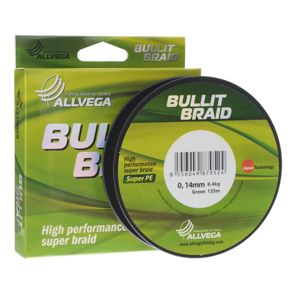 Леска плетеная Allvega Bullit Braid, цвет: темно-зеленый, 135 м, 0,14 мм, 8,4 кг21441Леска Allvega Bullit Braid с гладкой поверхностью и одинаковым сечением по всей длине обладает высокой износостойкостью. Благодаря микроволокнам полиэтилена (Super PE) леска имеет очень плотное плетение и не впитывает воду. Леску Allvega Bullit Braid можно применять в любых типах водоемов. Особенности:повышенная износостойкость;высокая чувствительность - коэффициент растяжения близок к нулю;отсутствует память; идеально гладкая поверхность позволяет увеличить дальность забросов; высокая прочность шнура на узлах.