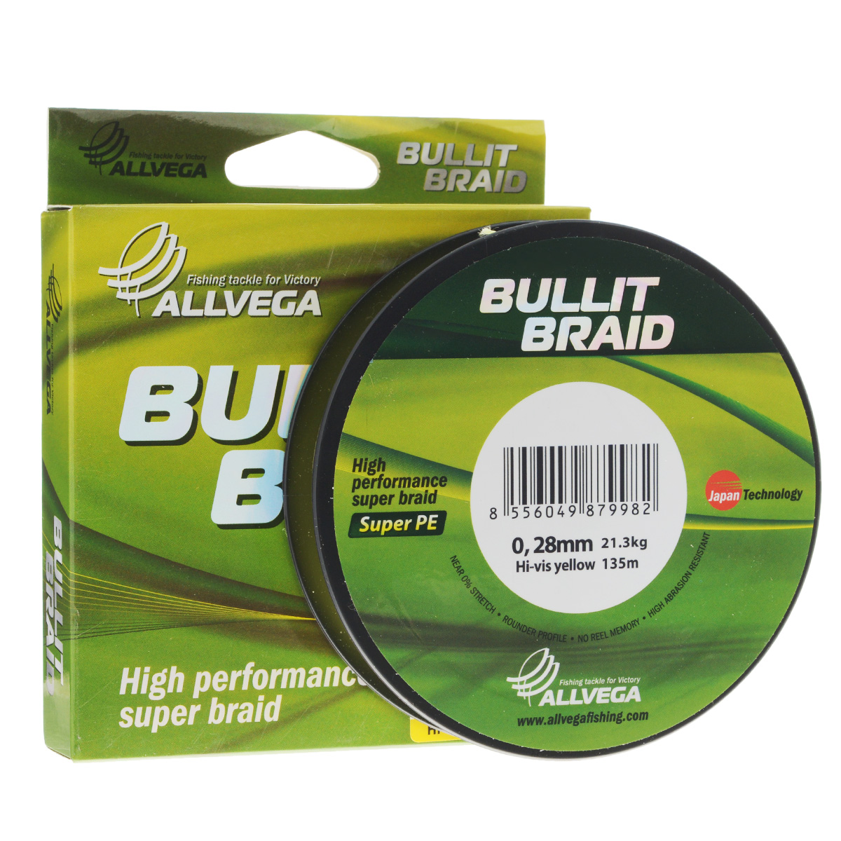Леска плетеная Allvega Bullit Braid, цвет: ярко-желтый, 135 м, 0,28 мм, 21,3 кг