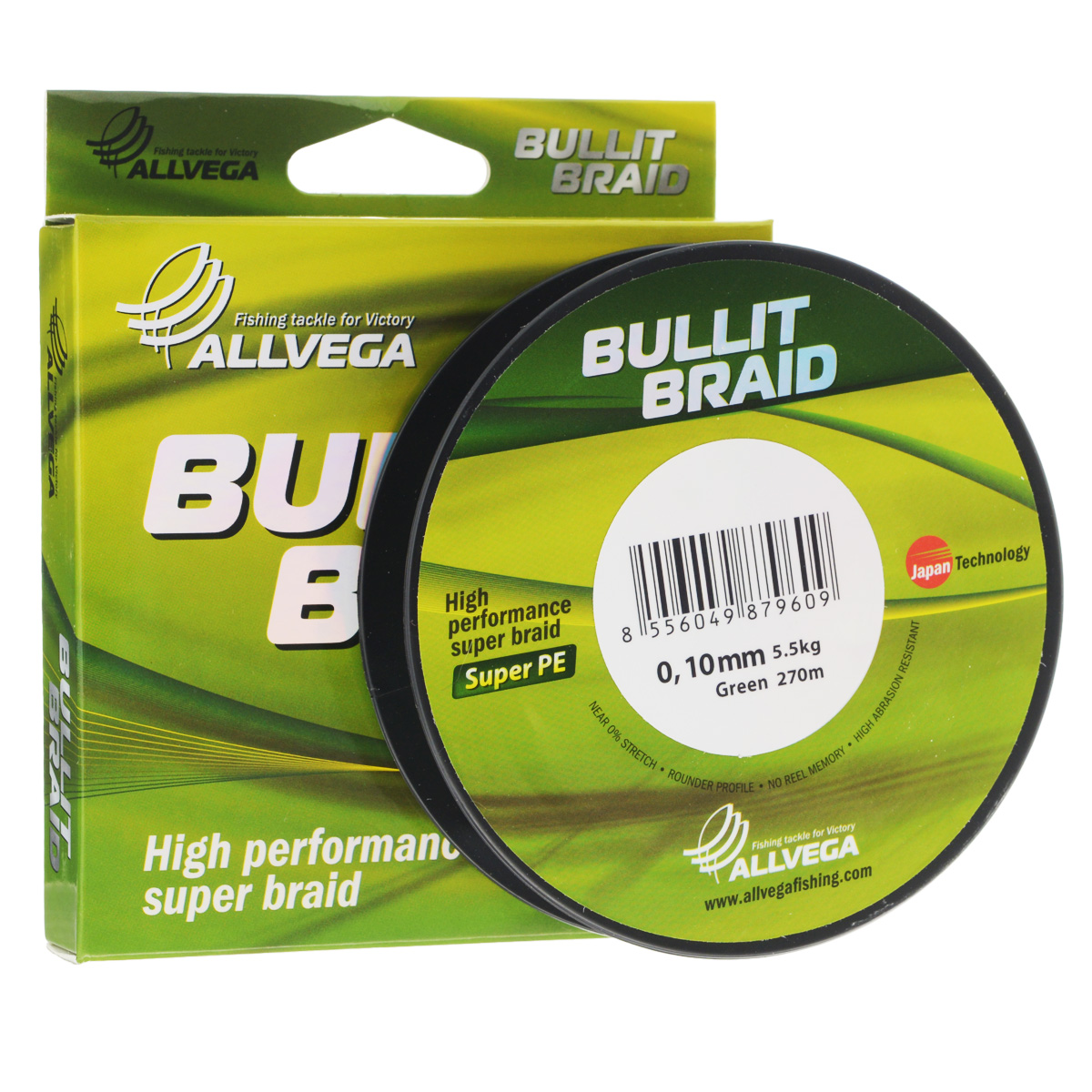 Леска плетеная Allvega Bullit Braid, цвет: темно-зеленый, 270 м, 0,10 мм, 5,5 кг 1pc od 13mm x 600mm cylinder liner rail linear shaft optical axis