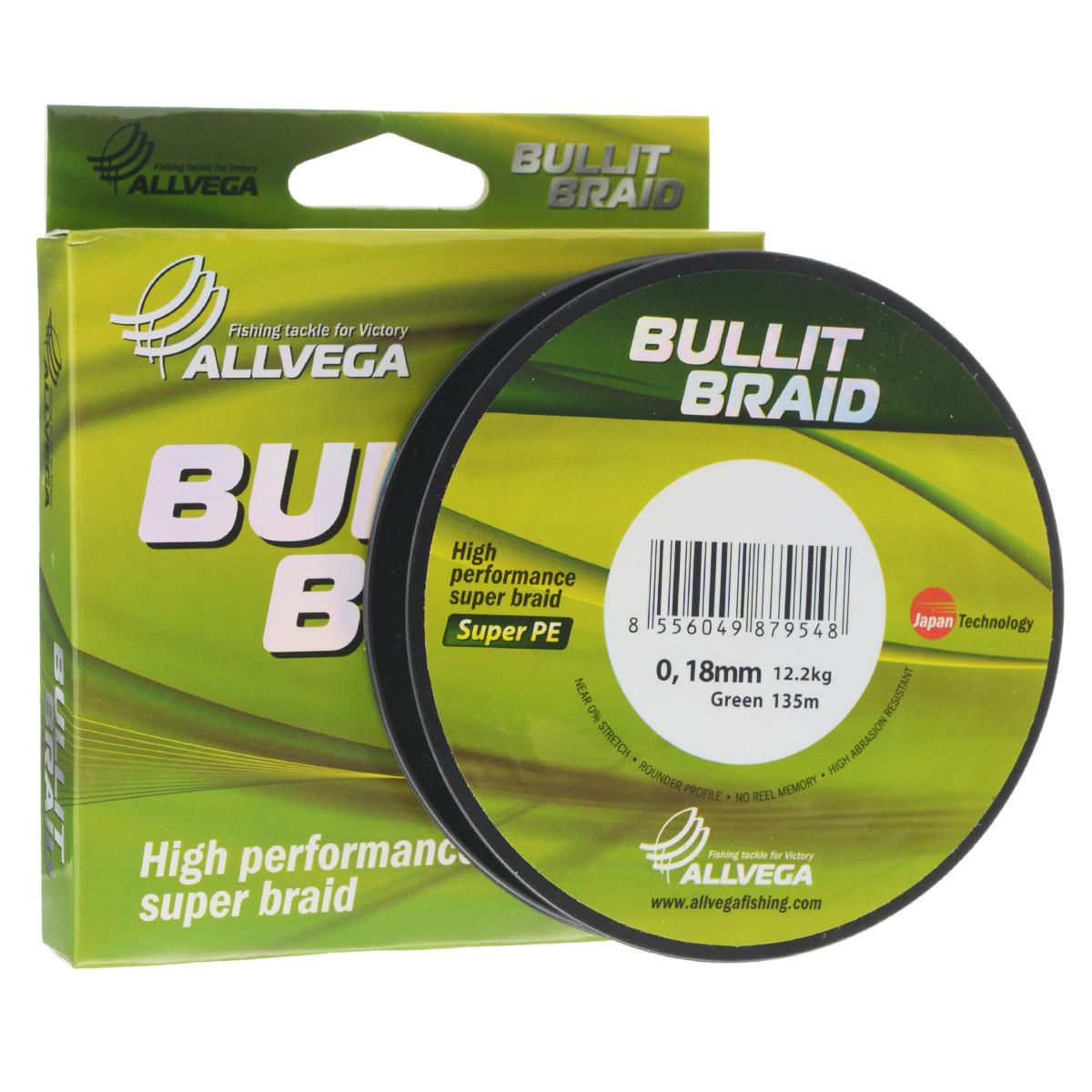 Леска плетеная Allvega Bullit Braid, цвет: темно-зеленый, 135 м, 0,18 мм, 12,2 кг21443Леска Allvega Bullit Braid с гладкой поверхностью и одинаковым сечением по всей длине обладает высокой износостойкостью. Благодаря микроволокнам полиэтилена (Super PE) леска имеет очень плотное плетение и не впитывает воду. Леску Allvega Bullit Braid можно применять в любых типах водоемов. Особенности:повышенная износостойкость;высокая чувствительность - коэффициент растяжения близок к нулю;отсутствует память; идеально гладкая поверхность позволяет увеличить дальность забросов; высокая прочность шнура на узлах.