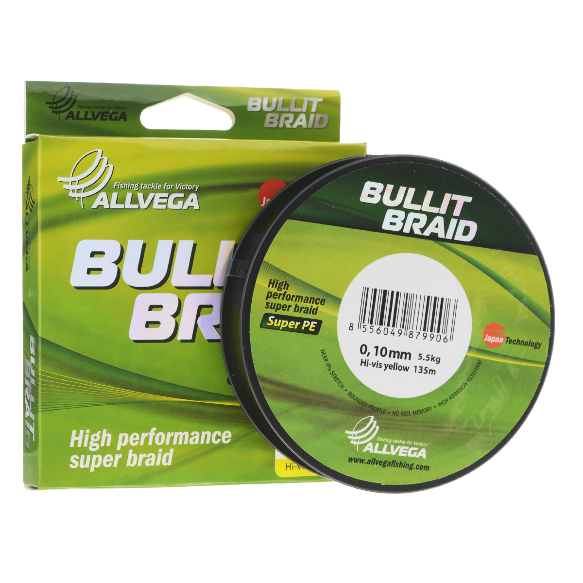 Леска плетеная Allvega Bullit Braid, цвет: ярко-желтый, 135 м, 0,10 мм, 5,5 кг