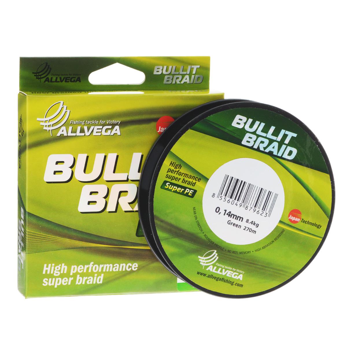 Леска плетеная Allvega Bullit Braid, цвет: темно-зеленый, 270 м, 0,14 мм, 8,4 кг25827Леска Allvega Bullit Braid с гладкой поверхностью и одинаковым сечением по всей длине обладает высокой износостойкостью. Благодаря микроволокнам полиэтилена (Super PE) леска имеет очень плотное плетение и не впитывает воду. Леску Allvega Bullit Braid можно применять в любых типах водоемов. Особенности:повышенная износостойкость;высокая чувствительность - коэффициент растяжения близок к нулю;отсутствует память; идеально гладкая поверхность позволяет увеличить дальность забросов; высокая прочность шнура на узлах.