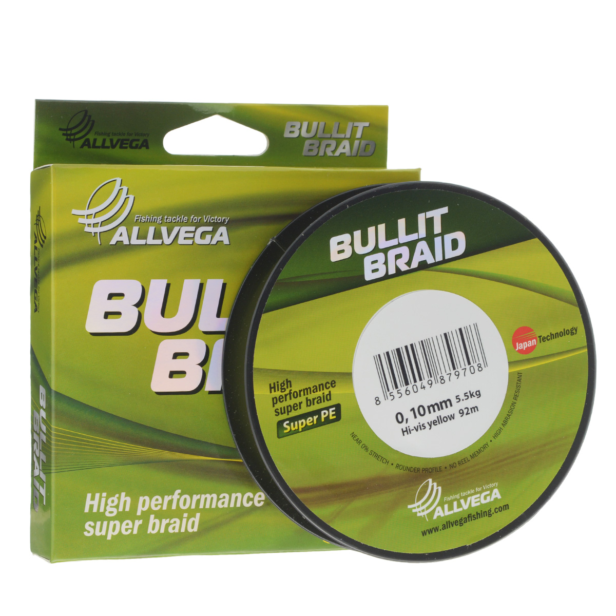 Леска плетеная Allvega Bullit Braid, цвет: ярко-желтый, 92 м, 0,10 мм, 5,5 кг