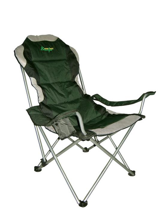 """Canadian Camper """"CC-152"""" - комфортное складное кресло с подлокотниками. Эта модель имеет 3-х позиционный механизм регулировки наклона спинки. Каркас сиденья выполнен из  упрочненной стальной трубы диаметром 19 мм. В подлокотник встроена подставка-термос для прохладительных напитков.  Комплектуется чехлом для хранения и переноски."""
