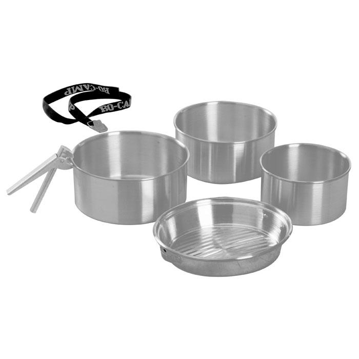 Набор походной посуды KingCamp Camper 3, 6 предметовУТ-00002420Набор походной посуды Camper 3 включает в себя три кастрюли, сковородку, съемную ручку и ремень. Набор идеально подойдет для приготовления пищи во время похода. Сковородку можно использовать как крышку на кастрюли.Предметы изготовлены из алюминия. Посуда легкая и компактно складывается, поэтому не займет в походном рюкзаке много места. Для удобства хранения и транспортировки набор комплектуется специальным ремнем.Размер большой кастрюли: 18 см х 18 см х 8 см.Размер средней кастрюли: 17 см х 17 см х 8 см.Размер малой кастрюли: 14 см х 14 см х 8 см.Размер сковороды: 18 см х 18 см х 3 см.Длина съемной ручки: 12,5 см.