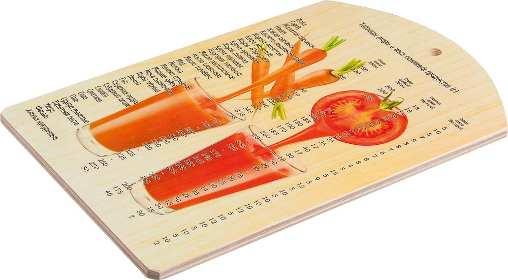 Доска разделочная Marmiton Овощной коктейль, 28,5 см х 18,5 см17038Разделочная доска Marmiton Овощной коктейль, изготовленная из березы, прекрасно подходит для разделки и измельчения всех видов продуктов. С лицевой стороны изделие декорировано изображением стаканов и овощей и таблицей меры и веса продуктов. Доска имеет отверстие для подвешивания на крючок.Внимание! Используйте только обратную сторону доски! Перед первым использованием промойте теплой водой и вытрите насухо мягкой тканью. Не подходит для мытья в посудомоечной машине.