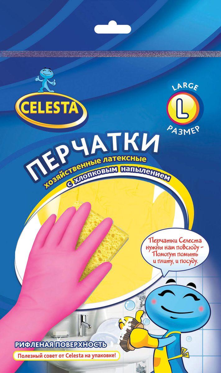 Перчатки хозяйственные Celesta, с хлопковым напылением, цвет: желтый. Размер L11096Хозяйственные перчатки Celesta изготовлены из высококачественного латекса с рифленой поверхностью, которая позволяет удерживать мокрые предметы. Внутреннее хлопковое напыление обеспечивает комфорт и защищает кожу рук от раздражений. Перчатки подходят для различных видов домашних работ. Перчатки прочные, эластичны, хорошо облегают руку.
