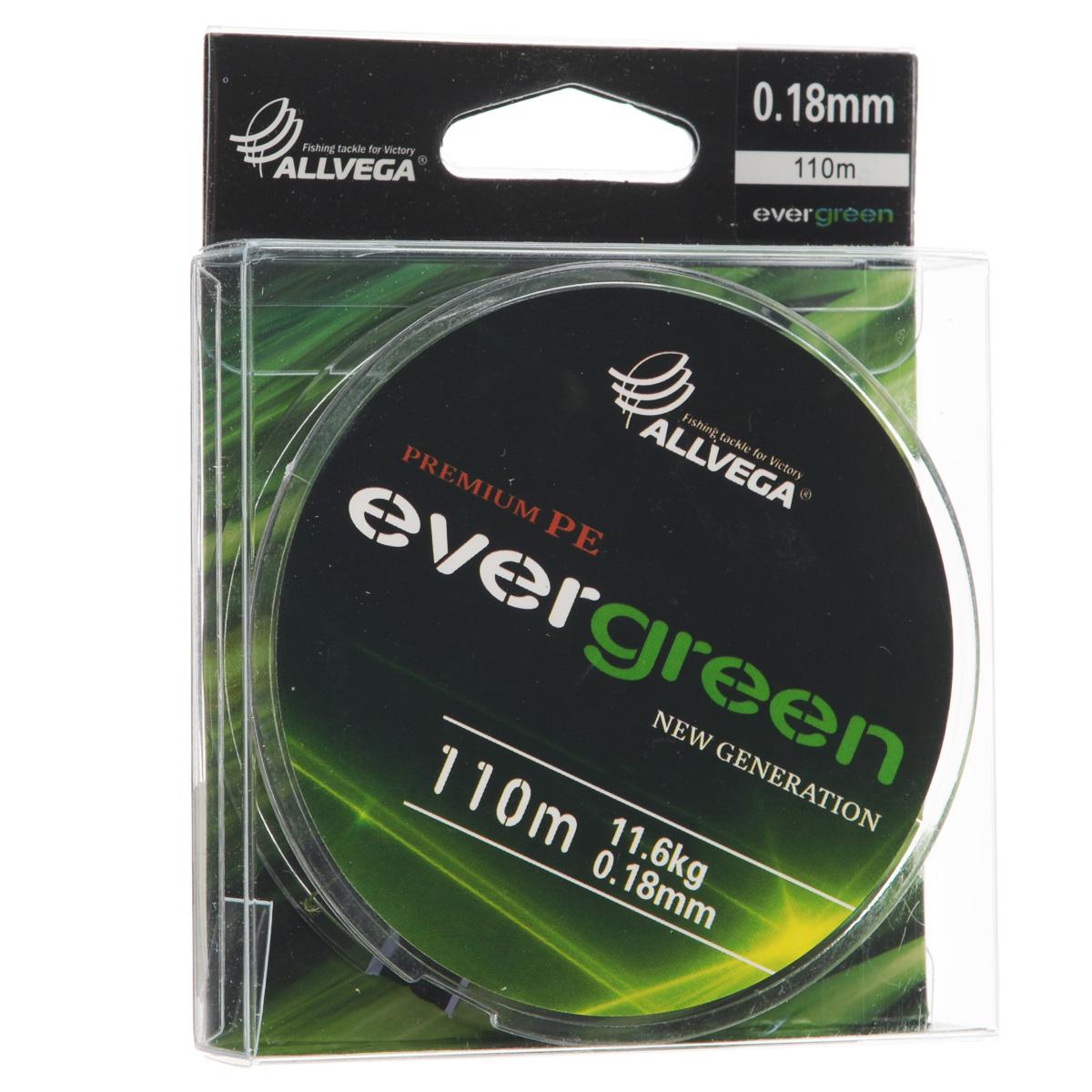 Леска плетеная Allvega Evergreen, цвет: темно-зеленый, 110 м, 0,18 мм, 11,6 кг
