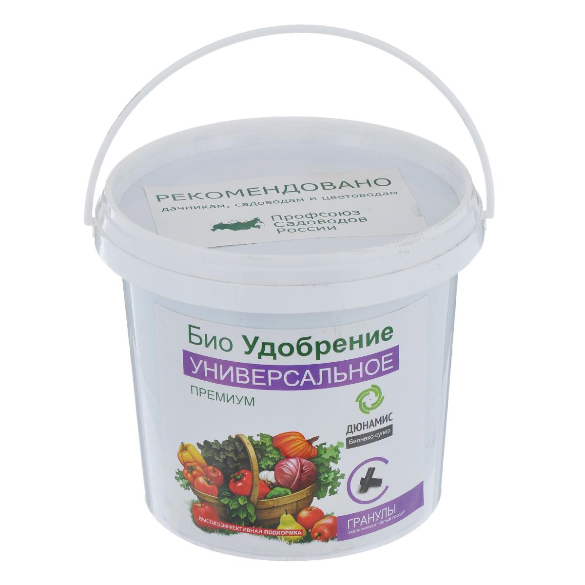 Био-удобрение Дюнамис Универсальное Премиум, в гранулах, 1 л0703-гУниверсальное био-удобрение Дюнамис - это гранулированное удобрение с веществами в хелатной форме. Обладает лёгким запахом. Способствует увеличению урожайности до 53% и улучшению вкусовых и качественных показателей плодов. Благодаря такому удобрению, повышается сопротивляемость к заболеваниям, также это эффективная помощь при дефиците питания и влаги. Универсальное био-удобрение Дюнамис обеспечивает обильное и длительное цветение, повышение силы растений.Варианты применения:- в лунку при посадке; - сухие корневые подкормки; - жидкие корневые подкормки. Состав: ферментированный навоз КРС, помет, биокатализатор. Объем: 1 л.Товар сертифицирован.