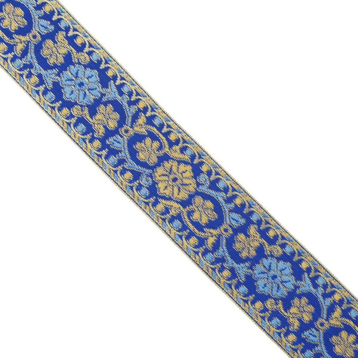 Тесьма декоративная Астра, цвет: синий, ширина 4 см, длина 16,4 м. 77034097703409Декоративная тесьма Астра выполнена из текстиля и оформлена оригинальным цветочным орнаментом. Такая тесьма идеально подойдет для оформления различных творческих работ таких, как скрапбукинг, аппликация, декор коробок и открыток и многого другого. Тесьма наивысшего качества и практична в использовании. Она станет незаменимым элементом в создании рукотворного шедевра. Ширина: 4 см.Длина: 16,4 м.