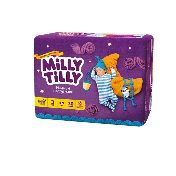Milly Tilly Подгузники ночные Midi, 4-9 кг, 30 шт подгузники детские milly tilly milly tilly дневные подгузники для детей мини 2 3 6кг 68шт