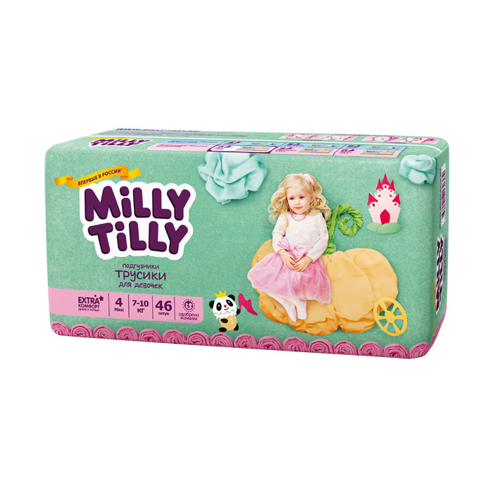 Подгузники-трусики для девочек Milly Tilly 4, 7-10 кг, 46 шт - Подгузники и пеленки