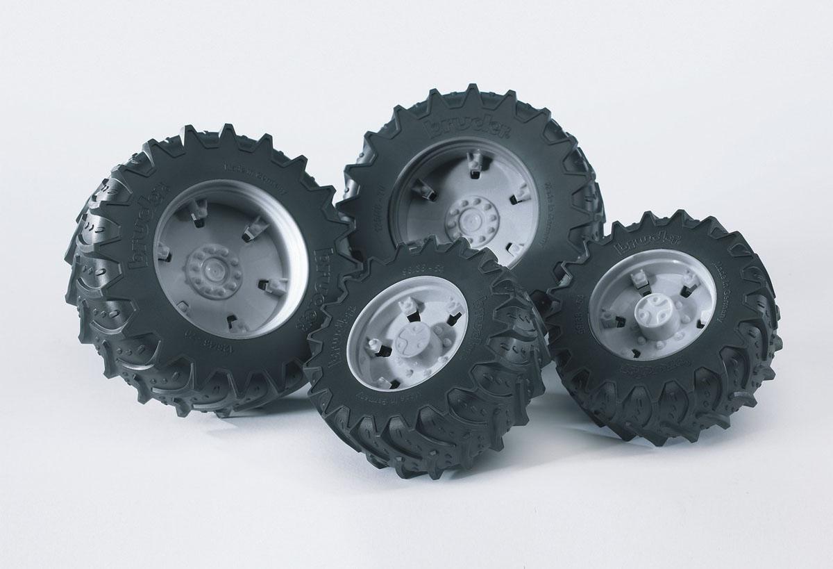 Аксессуары K: Шины для системы сдвоенных колёс с серыми дисками 4шт. (диам задн 12,5см, диам передн шины для системы сдвоенных колес bruder 02 013