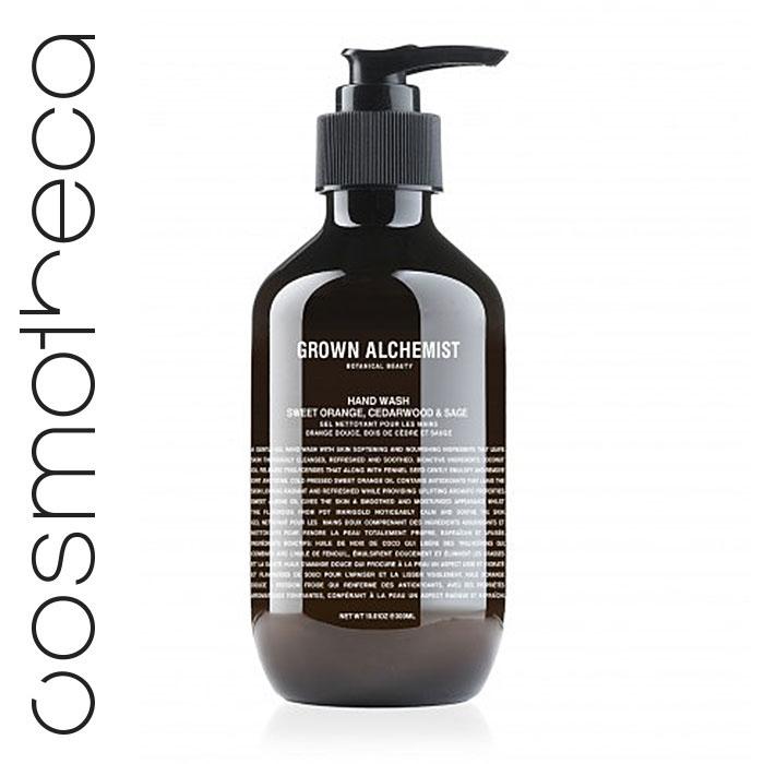 Grown Alchemist Жидкое мыло для рук Апельсин, кедр и шалфей, 300 млGRA0025Великолепно пенится, мягко иэффективно очищая кожу.Стимулирует циркуляцию.Повышает выработку липидовкожей.Успокаивает и смягчает кожу.
