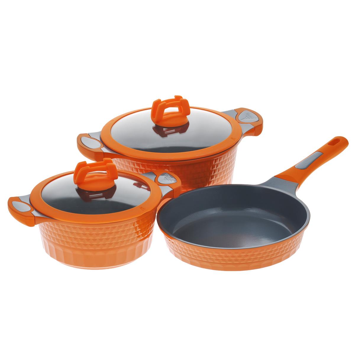 Набор посуды Winner, с керамическим покрытием, цвет: оранжевый, 5 предметов. WR-1302WR-1302В набор посуды Winner входят 2 кастрюли с крышками и сковорода. Предметы набора выполнены из высококачественного литого алюминия с антипригарным керамическим нанопокрытием Cerock. Посуда с нанопокрытием обладает высокой прочностью, жаро-, износо-, коррозийной стойкостью, химической инертностью. При нагревании до высоких температур не выделяет и не впитывает в себя вредных для человека химических соединений. Нанопокрытие гарантирует быстрый и равномерный нагрев посуды и существенную экономию электроэнергии. Данная технология позволяет исключить деформацию корпуса при частом и длительном использовании посуды. Внешние стенки посуды рифленые, что придает набору особо эстетичный внешний вид. Внешнее покрытие цветное жаростойкое силиконовое. Предметы набора оснащены удобными бакелитовыми ручками с силиконовым покрытием. Крышки, выполненные из термостойкого стекла с силиконовым ободком и пароотводом, позволят вам следить за процессом приготовления пищи. Крышки плотно прилегают к краям посуды, предотвращая проливание жидкости и сохраняя аромат блюд. Подходит для газовых, электрических и индукционных плит. Можно использовать в посудомоечной машине.Набор посуды Winner - идеальный подарок для современных хозяек, которые следят за своим здоровьем и здоровьем своей семьи. Эргономичный дизайн и функциональность набора позволят вам наслаждаться процессом приготовления любимых, полезных для здоровья блюд. Объем кастрюль: 2,4 л; 4,2 л. Внешний диаметр: 21,1 см; 25,3 см. Внутренний диаметр: 20 см; 24 см. Ширина кастрюль с учетом ручек: 29,2 см; 34,5 см.Диаметр крышек: 21 см; 25 см.Высота стенок: 9,5 см; 11,7 см.Толщина стенки: 2,3 мм.Толщина дна: 4 мм.Диаметр дна: 16 см; 19,5 см.Внешний диаметр сковороды: 25 см. Внутренний диаметр сковороды: 24 см. Высота стенок: 5,5 см. Толщина стенки: 2,3 мм.Толщина дна: 5 мм.Длина ручки: 20,5 см. Диаметр дна сковороды: 19,5 см.