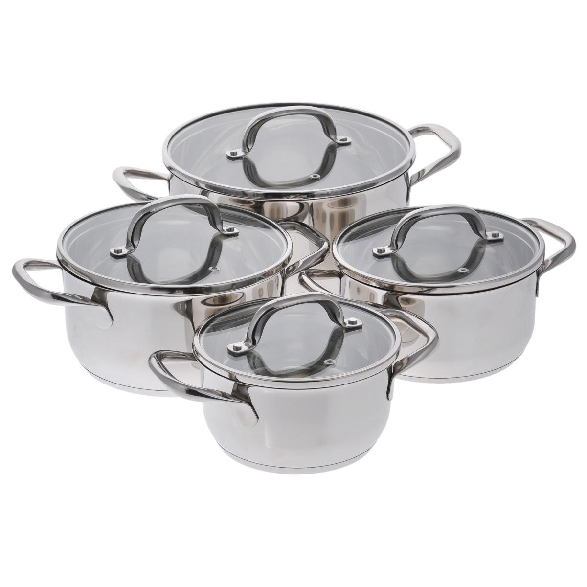 Набор посуды Winner, 8 предметов. WR-1102WR-1102В набор посуды Winner входят 4 кастрюли с крышками. Вся посуда выполнена из высококачественной нержавеющей стали 18/10, а идеально ровная внутренняя поверхность значительно облегчает мытье. Энергосберегающее, капсулированное дно быстро и равномерно распределяет тепло. Зеркальная полировка придает набору особо эстетичный внешний вид. Предметы набора оснащены двумя удобными ручками из нержавеющей стали. Крышки, выполненные из термостойкого стекла с ободком из нержавеющей стали и пароотводом, позволят вам следить за процессом приготовления пищи. Крышки плотно прилегают к краям посуды, предотвращая проливание жидкости и сохраняя аромат блюд.Подходит для газовых, электрических, стеклокерамических и индукционных плит. Можно мыть в посудомоечной машине.Набор посуды Winner - идеальный подарок для современных хозяек, которые следят за своим здоровьем и здоровьем своей семьи. Эргономичный дизайн и функциональность набора позволят вам наслаждаться процессом приготовления любимых, полезных для здоровья блюд. Объем кастрюль: 1,7 л; 2,4 л; 3,2 л; 5,4 л. Внешний диаметр: 17,5 см; 19,5 см; 21,5 см; 25,5 см. Внутренний диаметр: 16 см; 18 см; 20 см; 24 см. Ширина кастрюль с учетом ручек: 25 см; 27 см; 30,5 см; 36 см.Диаметр крышек: 17 см; 19 см; 21 см; 25 см.Высота стенок: 8,8 см; 9,8 см; 10,8 см; 12,5 см.Толщина стенки: 0,7 мм.Толщина дна: 4 мм.Диаметр дна: 13,5 см; 15,5 см; 17,5 см; 21 см.