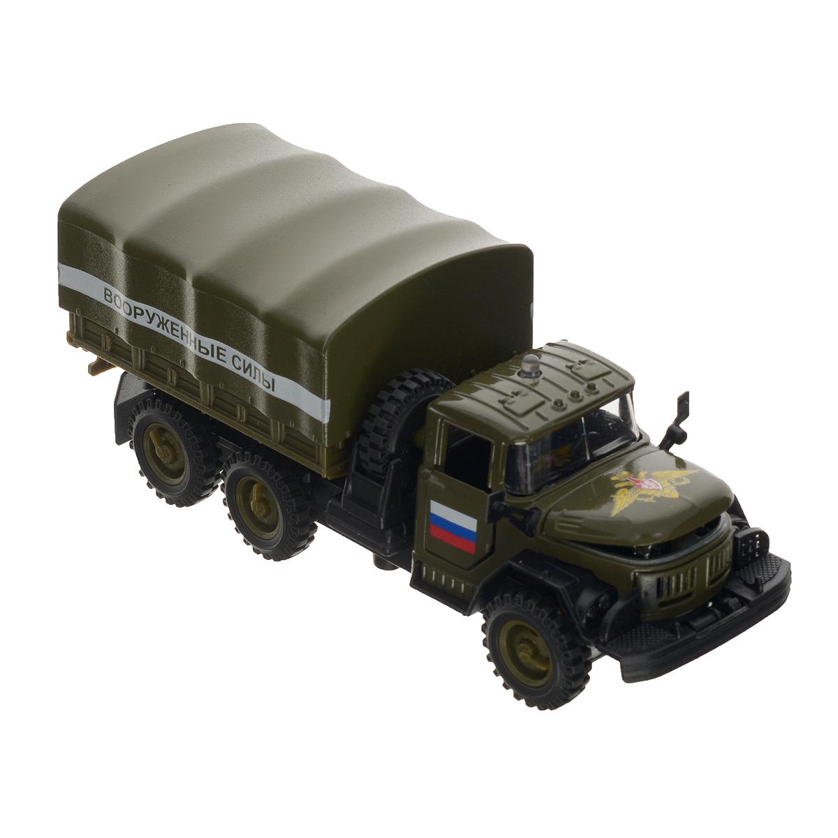 ТехноПарк Машинка инерционная ЗИЛ 131 Вооруженные силы игрушка технопарк зил 130 бензовоз x600 h09131 r