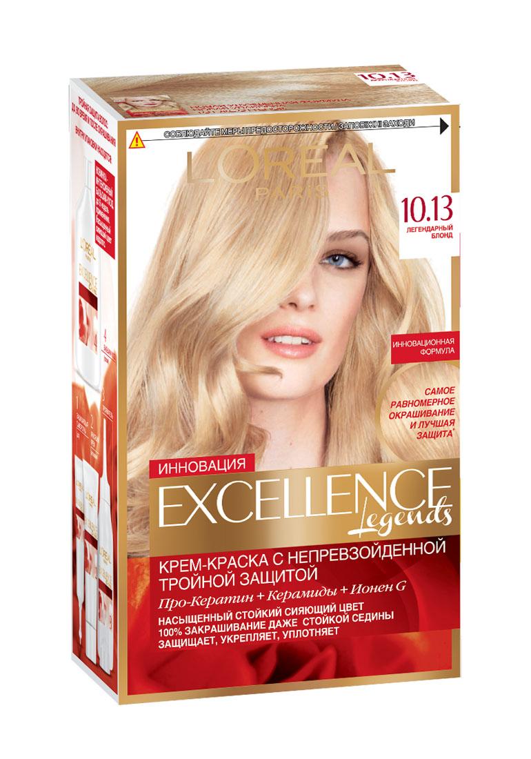 LOreal Paris Стойкая крем-краска для волос Excellence, оттенок 10.13, Легендарный блондA7910628Крем-краска для волос Экселанс защищает волосы до, во время и после окрашивания. Уникальная формула краскииз Керамида, Про-Кератина и активного компонента Ионена G, которые обеспечивают 100%-ное окрашивание седины и способствуют длительному сохранению интенсивности цвета. Сыворотка, входящая в состав краски, оказывает лечебное действие, восстанавливая поврежденные волосы, а густая кремовая текстура краски обволакивает каждый волос, насыщая его интенсивным цветом. Специальный бальзам-уход делает волосы плотнее, укрепляет их, восстанавливая естественную эластичность и силу волос.В состав упаковки входит: защищающая сыворотка (12 мл), флакон-аппликатор с проявителем (72 мл), тюбик с красящим кремом (48 мл), флакон с бальзамом-уходом (60 мл), аппликатор-расческа, инструкция, пара перчаток.1. Укрепляет волосы 2. Защищает их 3. Придает волосам упругость 3. Насыщеннный стойкий сияющий цвет 4. Закрашивает до 100% седых волос