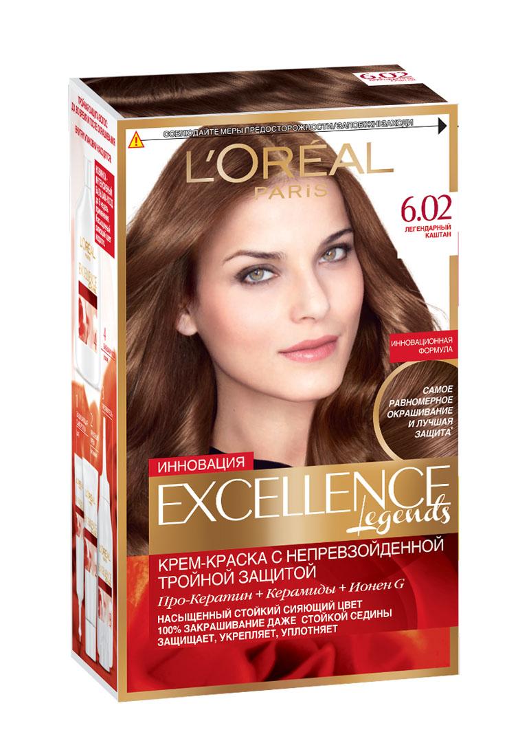 LOreal Paris Стойкая крем-краска для волос Excellence, оттенок 6.02, Легендарный каштанA8463628Крем-краска для волос Экселанс защищает волосы до, во время и после окрашивания. Уникальная формула краскииз Керамида, Про-Кератина и активного компонента Ионена G, которые обеспечивают 100%-ное окрашивание седины и способствуют длительному сохранению интенсивности цвета. Сыворотка, входящая в состав краски, оказывает лечебное действие, восстанавливая поврежденные волосы, а густая кремовая текстура краски обволакивает каждый волос, насыщая его интенсивным цветом. Специальный бальзам-уход делает волосы плотнее, укрепляет их, восстанавливая естественную эластичность и силу волос.В состав упаковки входит: защищающая сыворотка (12 мл), флакон-аппликатор с проявителем (72 мл), тюбик с красящим кремом (48 мл), флакон с бальзамом-уходом (60 мл), аппликатор-расческа, инструкция, пара перчаток.1. Укрепляет волосы 2. Защищает их 3. Придает волосам упругость 3. Насыщеннный стойкий сияющий цвет 4. Закрашивает до 100% седых волос