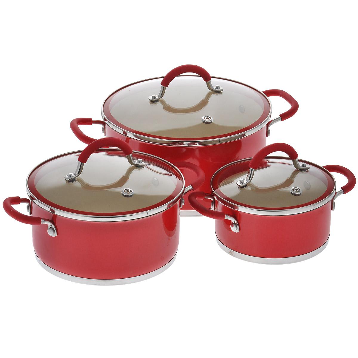 Набор посуды Winner, с керамическим покрытием, цвет: красный, 6 предметов. WR-1109WR-1109В набор посуды Winner входят 3 кастрюли с крышками. Предметы набора выполнены извысококачественной нержавеющей стали 18/10 с антипригарным керамическим нанопокрытием Creblon.Посуда с нанопокрытием обладает высокой прочностью, жаро-, износо-, коррозийной стойкостью, химической инертностью. При нагревании до высоких температур не выделяет и не впитывает в себя вредных для человека химических соединений. Нанопокрытие гарантирует быстрый и равномерный нагрев посуды и существенную экономию электроэнергии. Данная технология позволяет исключить деформацию корпуса при частом и длительном использовании посуды.Посуда имеет внешнее цветное жаростойкое покрытие, что придает набору особо эстетичныйвнешний вид.Предметы набора оснащены двумя удобными ручками из нержавеющей стали с силиконовым покрытием. Крышки, выполненные из термостойкого стекла с силиконовым ободком и пароотводом, позволят вам следить за процессом приготовления пищи. Крышки плотно прилегают к краям посуды, предотвращая проливание жидкости и сохраняя аромат блюд.Подходит для газовых, электрических, стеклокерамических и индукционных плит. Рекомендована ручная чистка.Набор посуды Winner - идеальный подарок для современных хозяек, которые следят за своим здоровьем и здоровьем своей семьи. Эргономичный дизайн и функциональность набора позволят вам наслаждаться процессом приготовления любимых, полезных для здоровья блюд. Объем кастрюль: 1,5 л; 3 л; 5 л.Внешний диаметр: 17 см; 21,2 см; 25,3 см.Внутренний диаметр: 16 см; 20 см; 24 см.Ширина кастрюль с учетом ручек: 24 см; 28,5 см; 35 см. Диаметр крышек: 17 см; 21 см; 25 см. Высота стенок: 8 см; 10 см; 12 см. Толщина стенки: 0,7 мм. Толщина дна: 3 мм. Диаметр дна: 15,7 см; 19,5 см; 23,5 см.