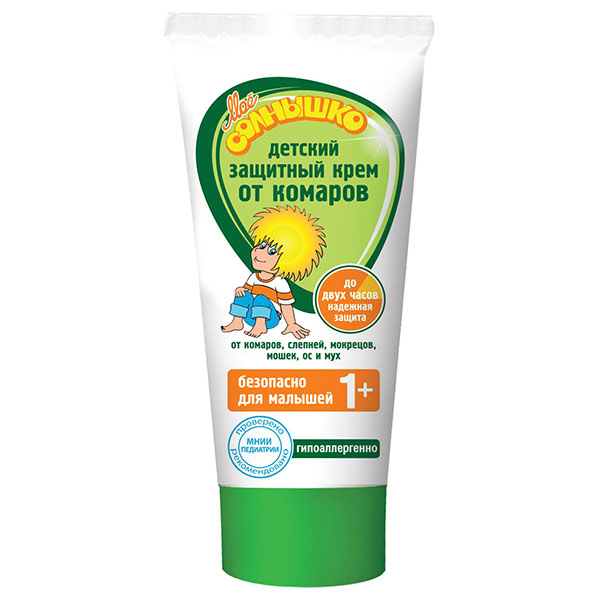 Мое солнышко Крем от комаров, детский, 50 мл02.03.16.1340Крем от комаров Мое солнышко разработан специально для детей. Эффективно защищает от комаров, слепней и других летающих насекомых (москитов, мокрецов, мошек, а также мух и ос). Безопасный для ребенка состав подходит для малышей от 1 года. Обладает мягким приятным запахом.Гипоаллергенно. Одобрено и рекомендовано МНИИ Педиатрии и детской хирургии Минздрава России.Товар сертифицирован.