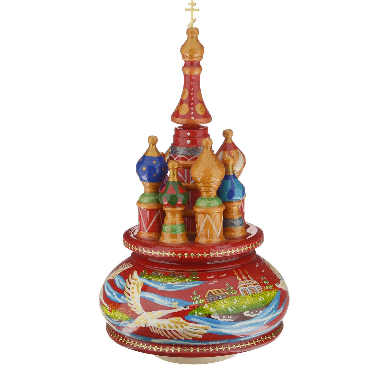 Фигурка декоративная Sima-land Храм, музыкальная, высота 21 см. 10799271079927Декоративная фигурка Sima-land Храм, выполненная из дерева в виде храма, покрыта лаком и оформлена красочными рисунками.Основание фигурки крутится и предназначено для завода музыкального механизма. Поверните основание фигурки, и она начнет медленно вращаться, и заиграет приятная мелодия. Декоративная музыкальна фигурка Sima-land Храм не оставит равнодушным ни одного любителя изысканных вещей и станет прекрасным подарком. Размер фигурки: 11 см х 11 см х 21 см.