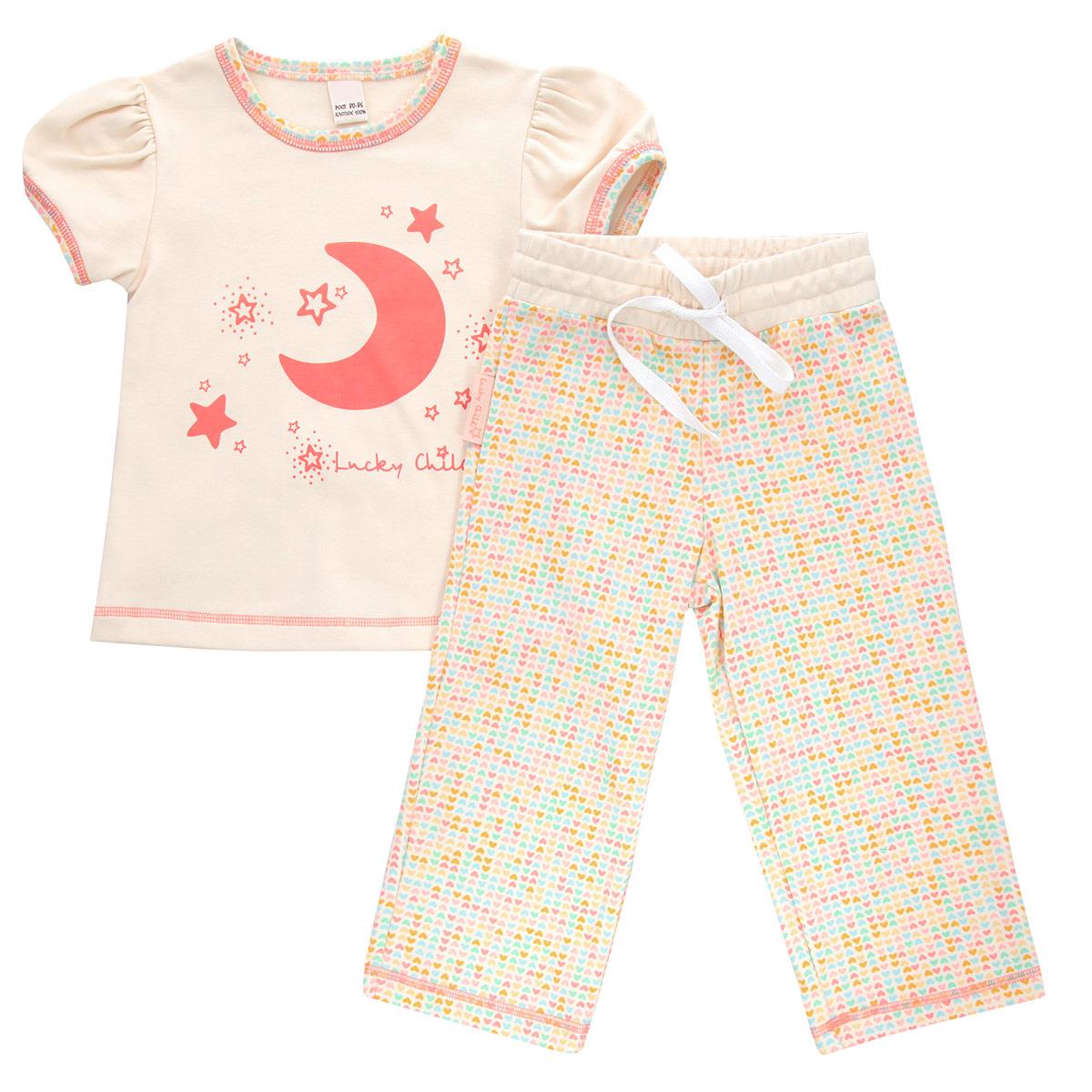 Пижама для девочки Lucky Child, цвет: кремовый, желтый, оранжевый. 12-402. Размер 80/8612-402Очаровательная пижама для девочки Lucky Child, состоящая из футболки и брюк, идеально подойдет вашей дочурке и станет отличным дополнением к детскому гардеробу. Изготовленная из натурального хлопка - интерлока, она необычайно мягкая и приятная на ощупь, не раздражает нежную кожу ребенка и хорошо вентилируется, а эластичные швы приятны телу и не препятствуют его движениям.Футболка трапециевидного кроя с короткими рукавами-фонариками и круглым вырезом горловины оформлена спереди оригинальной термоаппликацией в виде месяца, а также изображением звездочек и названием бренда. Горловина и рукава оформлены принтом с мелким изображением сердечек. Низ изделия оформлен контрастной фигурной прострочкой. Брюки прямого кроя на талии имеют широкий эластичный пояс со шнурком, благодаря чему они не сдавливают животик ребенка и не сползают. Оформлены брюки принтом с мелким изображением сердечек по всей поверхности. Низ брючин оформлен контрастной фигурной прострочкой. Такая пижама идеально подойдет вашей дочурке, а мягкие полотна позволят ей комфортно чувствовать себя во время сна!
