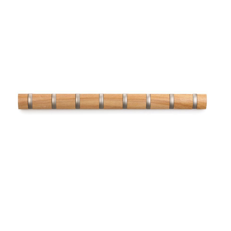 Вешалка настенная Umbra Flip, цвет: бежевый, 8 крючков318858-390Стильная и прочная вешалка Umbra Flip интересной формы и оригинального дизайна изготовлена из дерева. Имеет 8 откидных крючков из никеля: когда они не используются, то складываются, превращая конструкцию в абсолютно гладкую поверхность. Вешалка Umbra Flip идеально подходит для маленьких прихожих и ограниченных пространств.Каждый крючок выдерживает вес до 2,3 кг. Размер вешалки: 82 см х 6 см х 3 см.