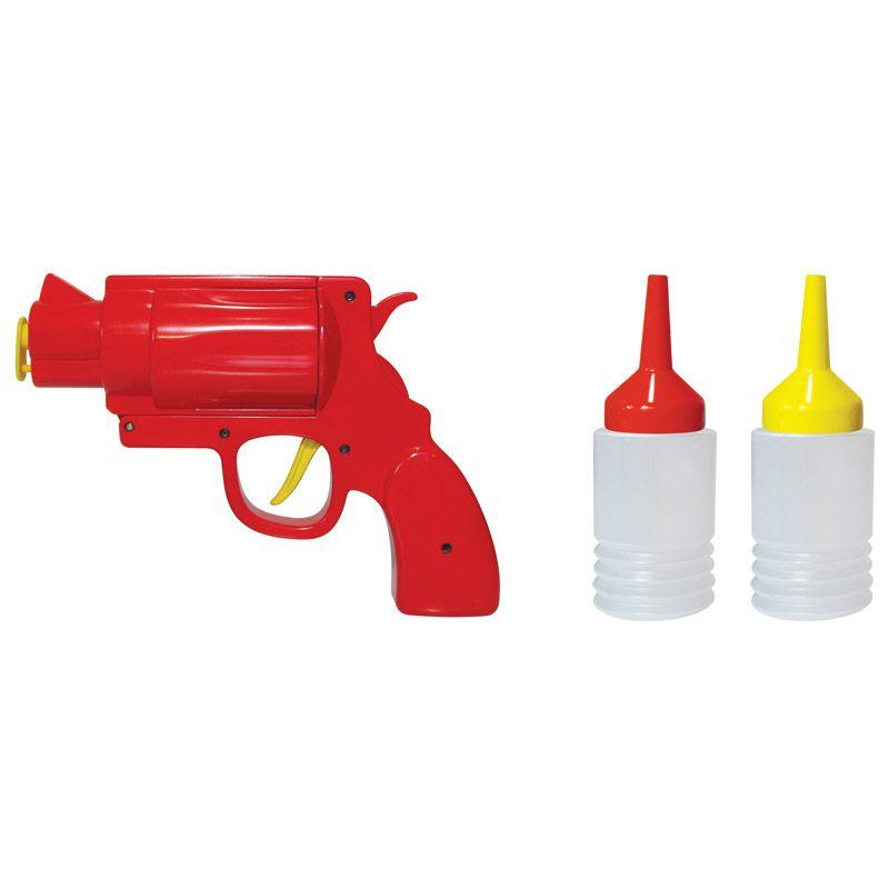 Диспенсер для кетчупа и горчицы Mustard Condiment GunNG4001Диспенсер для кетчупа и горчицы Mustard Condiment Gun изготовлен из прочного пищевого пластика. Прибор выполнен в оригинальном дизайне в виде пистолета. Однако такая необычная форма идеально подходит для порциона соусов. С таким диспенсером горчица будет строго на сосиске, а кетчуп строго на котлете, не потревожив макароны или картошечку. Использовать диспенсер очень просто. В комплекте имеются 2 емкости, с красным и желтым наконечниками, это не дает перепутать что есть что. Необходимо заполнить емкость соусом и поместить внутрь диспенсера. Яркий и оригинальный подарок, который понравится каждому.