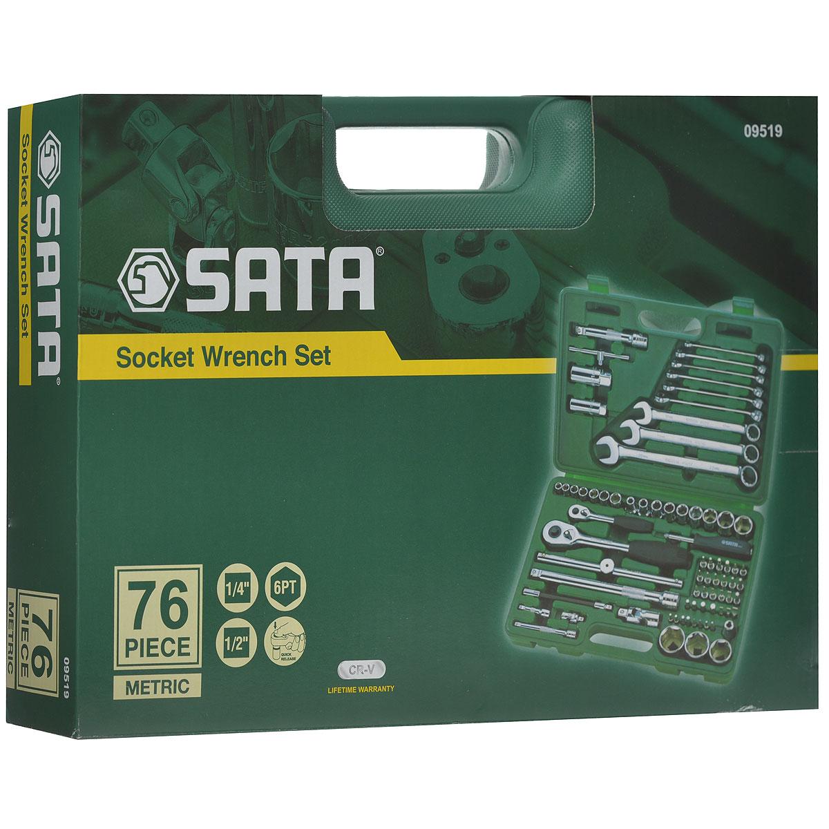 Набор инструментов SATA 76пр. 0951909519Набор инструментов Sata - это необходимый предмет в каждом доме. Он включает в себя 76 предметов, которые умещаются в небольшом пластиковом кейсе. Такой набор будет идеальным подарком мужчине. Состав набора: Биты шлицевые: 8 мм, 10 мм, 12 мм.Биты POZI: PZ1, PZ4.Биты Phillips: РН3, РН4.Биты TORX: Т40, T45, T50, T55.Биты HEX: 9 мм, 10 мм, 12 мм, 14 мм.Ключ свечной 1/2: 16 мм.Ключ свечной 1/2: 21мм.Биты шлицевые с хвостовиком под ключ 1/4: 4 мм, 5,5 мм, 6,5 мм.Биты POZI с хвостовиком под ключ 1/4: PZ1, PZ2.Биты Phillips с хвостовиком под ключ 1/4: PH1, PH2.Биты TORX с хвостовиком под ключ 1/4: Т8, T10, T15, T20, T25, T30, T40.Биты HEX с хвостовиком под ключ 1/4: 3 мм, 4 мм, 5 мм, 6 мм.Привод 1/2.Рукоятка реверсивная 1/2.Удлинитель 1/2: 125мм.Удлинитель 1/2: 250 мм.Вороток 1/2: 250 мм.Шарнир карданный 1/2.Адаптер для битов 1/2.Головки торцевые шестигранные 1/4: 8 мм, 9 мм, 10 мм, 11 мм, 12 мм, 13 мм, 14 мм.Головки торцевые шестигранные 1/2: 8 мм, 10 мм, 12 мм, 13 мм, 14 мм, 17 мм, 19 мм, 22 мм, 24 мм, 27 мм, 30 мм, 32 мм.Ключи комбинированные: 8 мм, 10 мм, 11 мм, 12 мм, 13 мм, 14 мм, 17 мм, 19 мм, 22 мм.Привод 1/4.Рукоятка реверсивная 1/4.Удлинитель 1/4: 50 мм.Удлинитель 1/4: 100 мм.Вороток 1/4: 100 мм.Рукоятка отверточная 1/4.Шарнир карданный 1/4.Удлинитель гибкий 1/4: 150 мм.