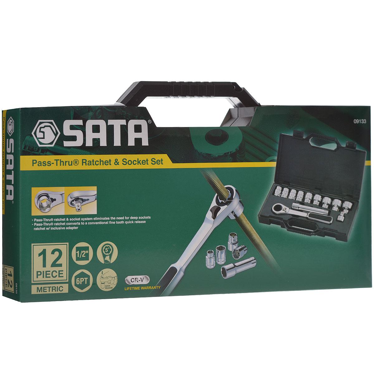 Набор торцевых головок SATA 12пр. 09133 набор торцевых головок sata sata metric 37048