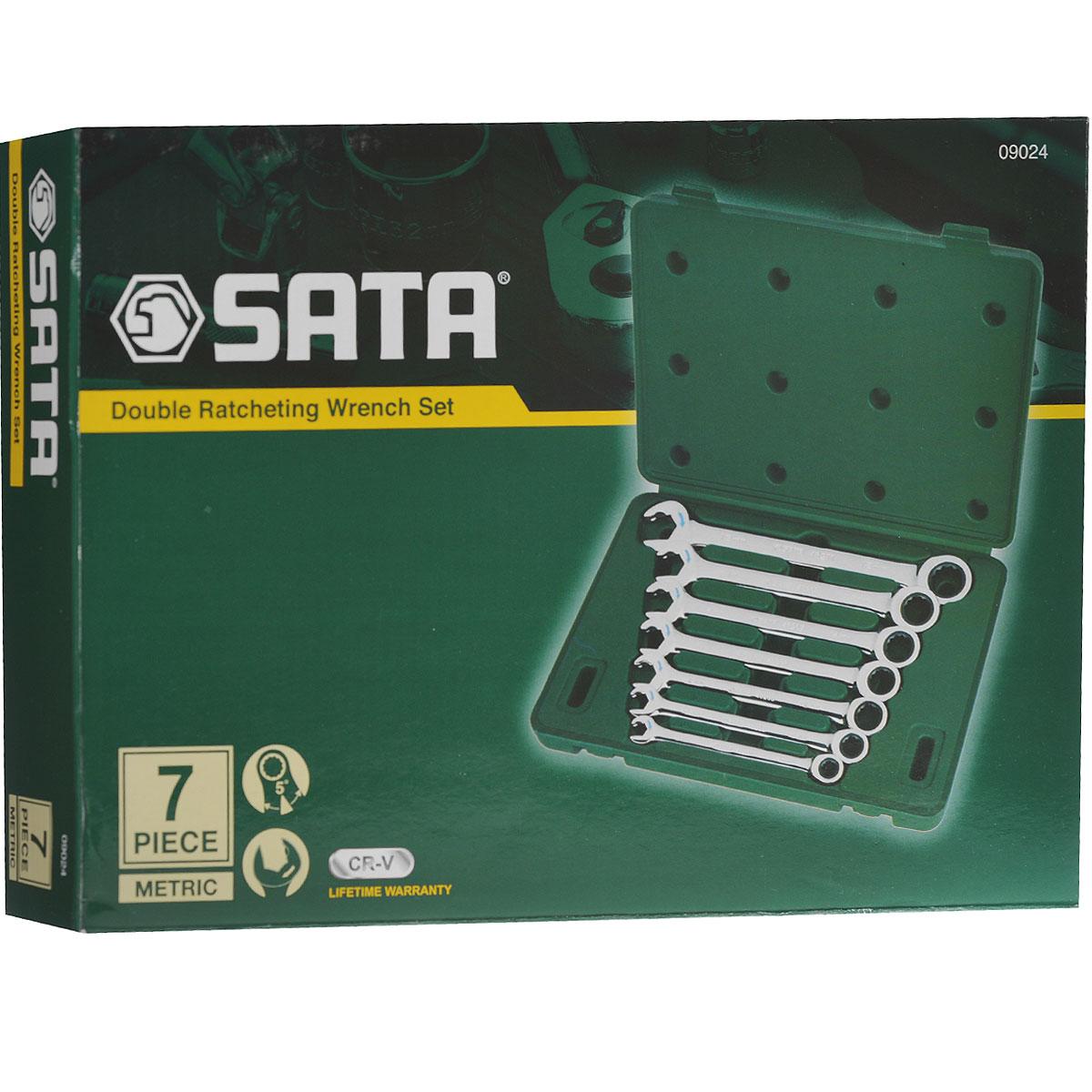 Набор инструментов Sata, 7 ключей. 0902409024Набор инструментов Sata - это необходимый предмет в каждом доме и автомобиле. Набор прекрасно подойдет для проведения ремонтных работ в домашних условиях. Все инструменты выполнены из высококачественной хромованадиевой стали стали. Ключи оснащены реверсивным трещоточным механизмом. В состав набора входят метрические комбинированные ключи размером: 8 мм, 10 мм, 12 мм, 13 мм, 14 мм, 15 мм, 18.