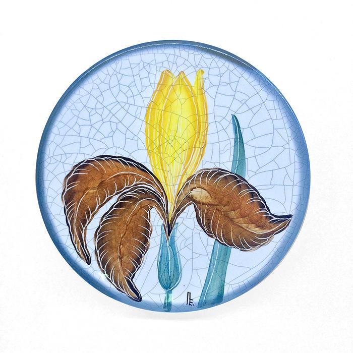 Тарелка декоративная Ирис, диаметр 16 см. Автор Елена ПотаповаPE16-03