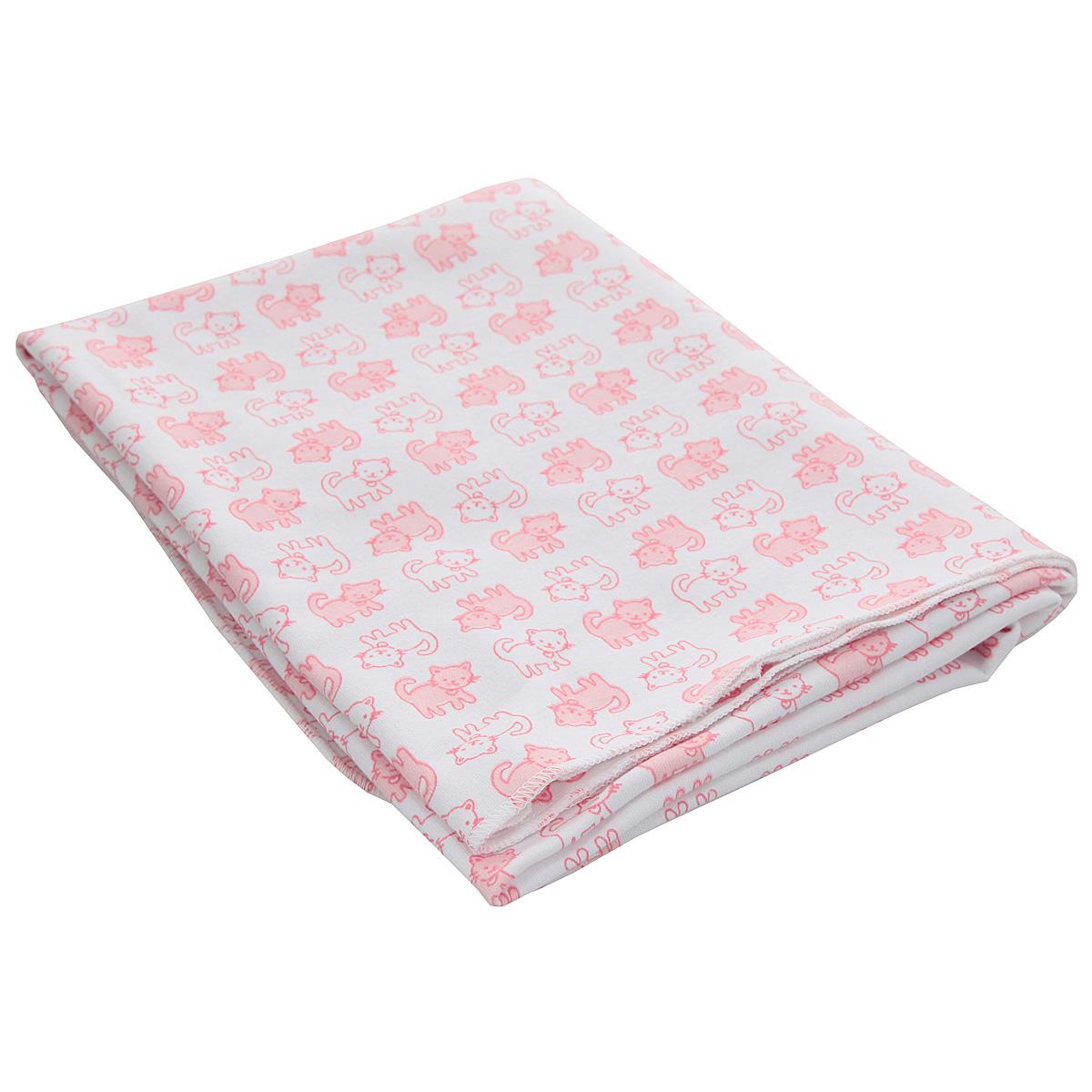 Пеленка трикотажная Трон-Плюс Котенок, цвет: белый, розовый, 120 см х 90 см пеленка для свободного пеленания