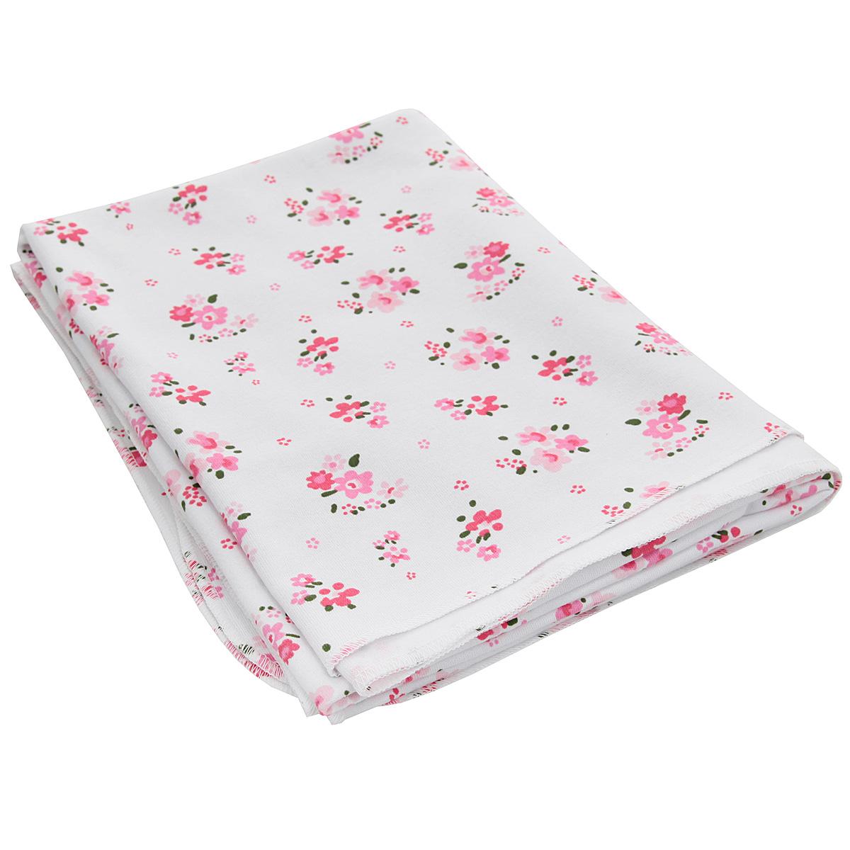 Пеленка трикотажная Трон-Плюс Цветы, цвет: белый, розовый, 120 см х 90 см пеленка трикотажная трон плюс цвет розовый 120 см х 90 см