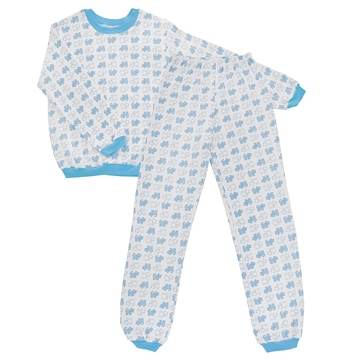 Пижама детская Трон-плюс, цвет: белый, голубой. 5555_котенок. Размер 86/92, 2-3 года5555_котенокУютная детская пижама Трон-плюс, состоящая из джемпера и брюк, идеально подойдет вашему ребенку и станет отличным дополнением к детскому гардеробу. Изготовленная из интерлока, она необычайно мягкая и легкая, не сковывает движения, позволяет коже дышать и не раздражает даже самую нежную и чувствительную кожу ребенка. Трикотажный джемпер с длинными рукавами имеет круглый вырез горловины. Низ изделия, рукава и вырез горловины дополнены эластичной трикотажной резинкой контрастного цвета.Брюки на талии имеют эластичную резинку, благодаря чему не сдавливают живот ребенка и не сползают. Низ брючин дополнен широкими эластичными манжетами контрастного цвета.Оформлено изделие оригинальным принтом с изображением котят. В такой пижаме ваш ребенок будет чувствовать себя комфортно и уютно во время сна.